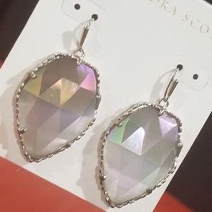 Rare Kendra Scott Iridescent Corley Earring Silver
